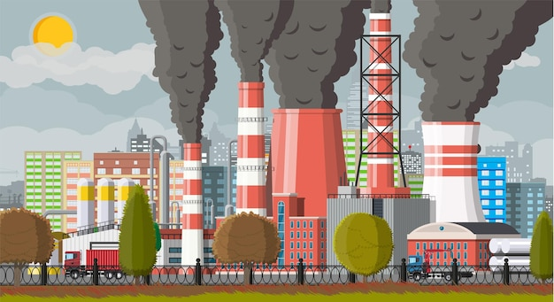 Plant smoking pipes. smog in city. trash emission from factory.