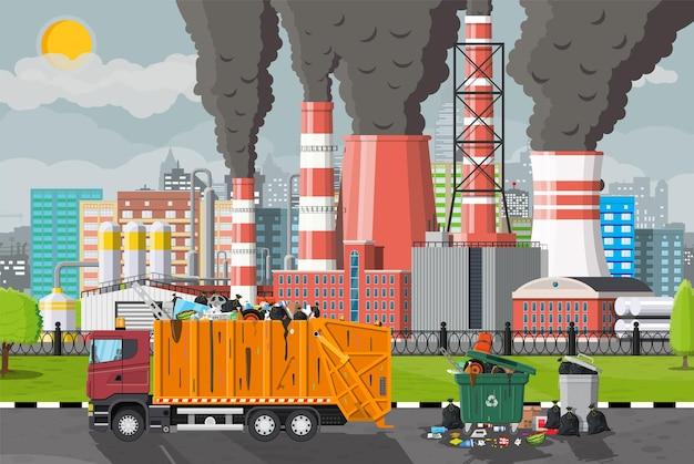 工場のイラストからゴミを排出する植物の喫煙パイプ