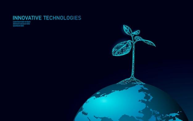 植物の芽の生態学的な抽象的な概念。 3dレンダリングの苗木の葉。地球を救う自然環境は生命エコポリゴン三角形低ポリイラストを育てる