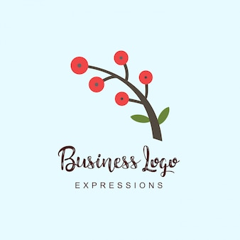Plant stem logo with typography and light background vector