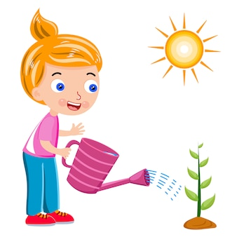 Plant watering girl and sun vector illustration