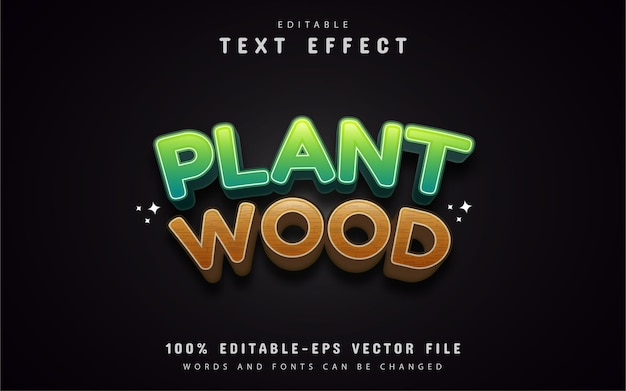Plant and wood text effect