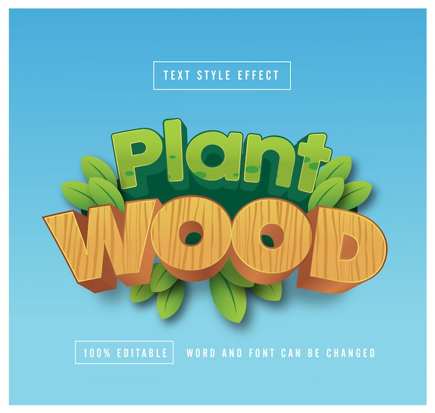 Plant and wood text style effect editable