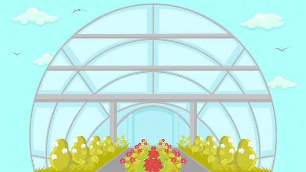 Plantation in greenhouse cartoon illustration