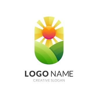 カラフルなスタイルのプランテーションのロゴ、丘と太陽のロゴ