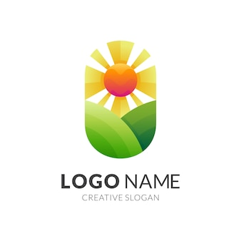 Plantation logo with colorful style, hill and sun logo