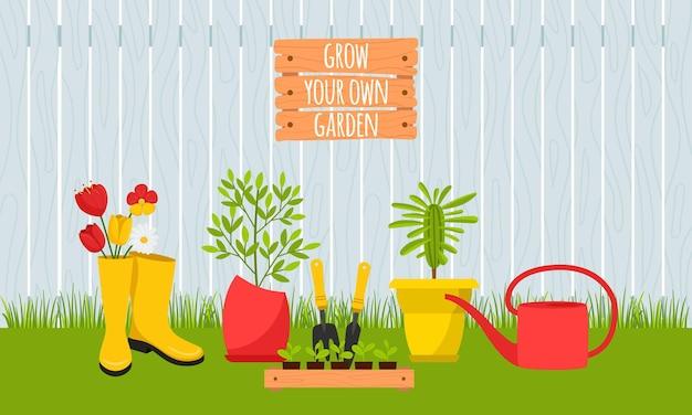 꽃과 묘목, 나무 울타리와 재배자. 화분, 고무 장화, 삽의 식물