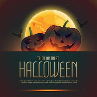 Plantilla de fondo para halloween con una luna llena y dos calabazas espeluznantes