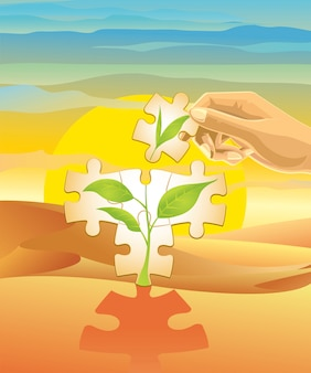 砂漠に木を植える。