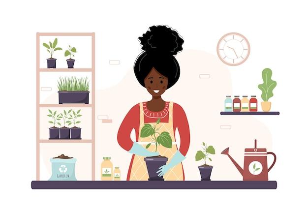 오렌지에 묘목을 재배치 집에서 만화 아프리카 여자 심기