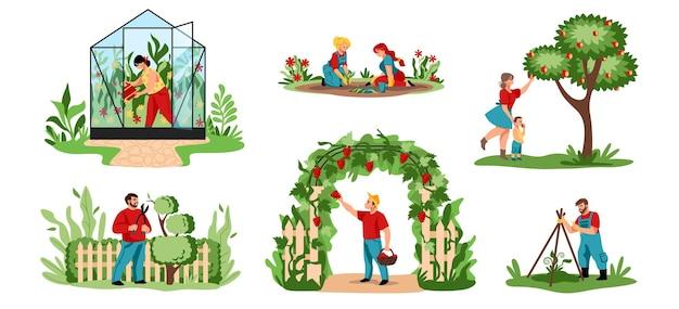植付。漫画の農業労働者は、木や茂みを切り、作物や花を植えます。庭や果樹園で働いて温室で有機食品を栽培しているベクトルイラストの人々