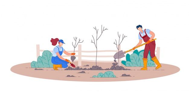 Посадка фруктовых деревьев. мужчина и женщина садовник люди герои мультфильмов, держа лопаты и посадить фруктовые деревья в саду. садоводство и сельское хозяйство