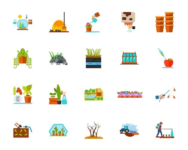 Planting icon set