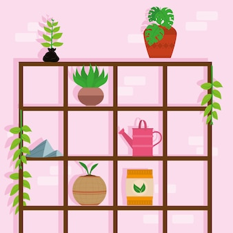 Planting icons in shelving wooden