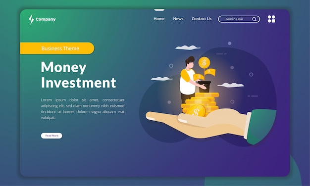 Planting a money tree illustration for money investment concept on landing page