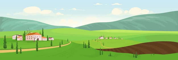 Planting season in hilltop villages  color  illustration. small old towns  cartoon landscape. spring view of country houses. private villas in rural area. natural scenery