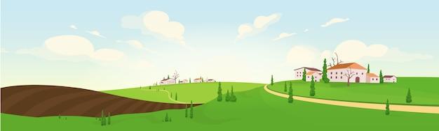 Сезон посадки во французской деревне плоская цветная иллюстрация