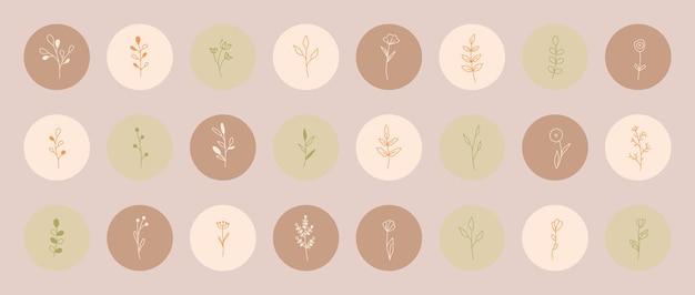 최소한의 단순한 스타일로 잎이 있는 식물과 꽃. 수제 꽃 로고. 식물 한 줄 아이콘을 설정합니다. 블로그 계정 및 소셜 미디어용 원형 형광펜 아이콘 세트. 벡터 일러스트 레이 션