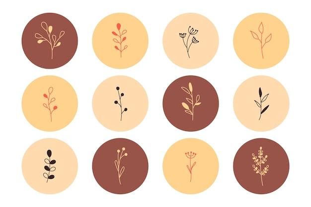 Растения и цветы с листьями в минималистичном простом стиле. цветочный логотип ручной работы. набор ботанических иконок одной линии. набор круглых значков маркера для учетной записи блога и социальных сетей. векторная иллюстрация