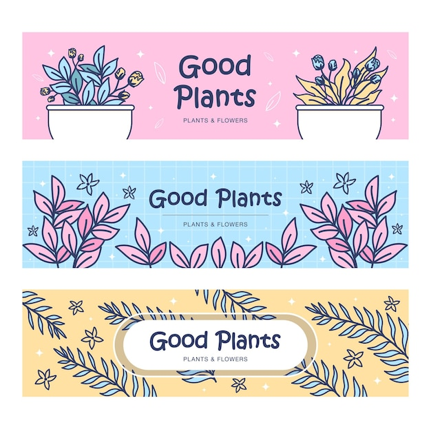 식물 배너 세트