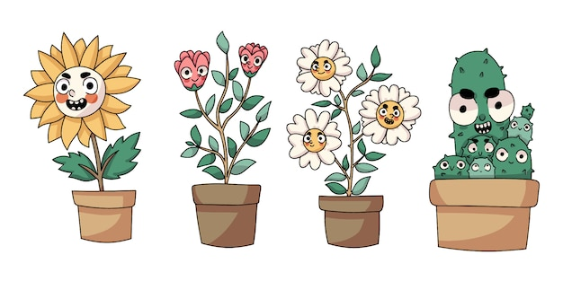 Plants cute cartoon isolated drawing