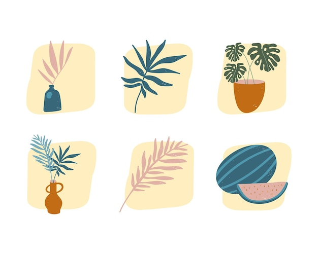 Plants and fruits hand drawn compositions