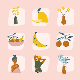 Plants, fruits and women hand drawn compositions