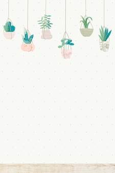 Растения, висящие на белом фоне стены