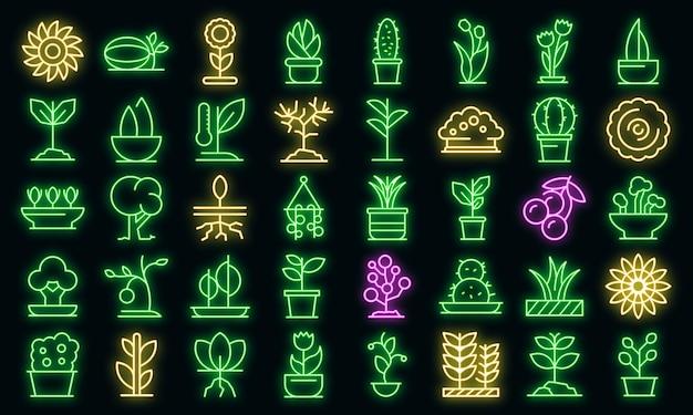 식물 아이콘입니다. 블랙에 개요 식물 벡터 아이콘 네온 색상