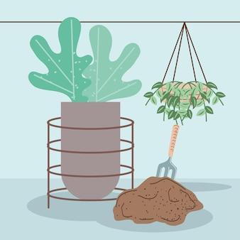 Растения в горшках и граблях