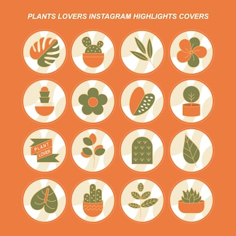 Plants lovers instagram highlights covers free vector
