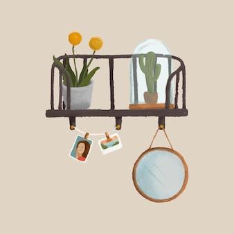 ベージュの壁のスケッチスタイルのベクトルと棚の上の植物