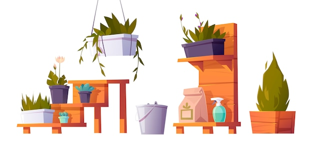 Plants in pots on wooden stand for greenhouse