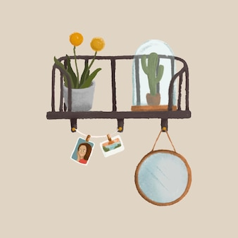 Plants on a shelf with a beige wall sketch style vector
