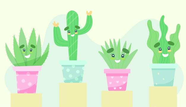 귀여운 얼굴이 설정된 식물 다육 식물과 선인장