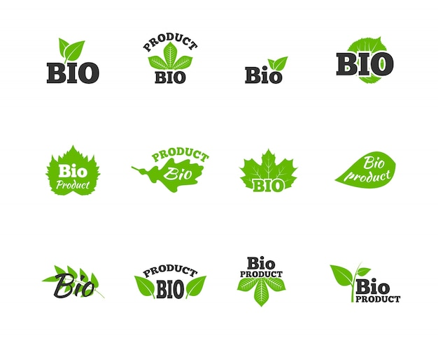 Plants and trees green leaves natural ecosphere bio products labels pictograms collection flat abstract isolated vector illustration