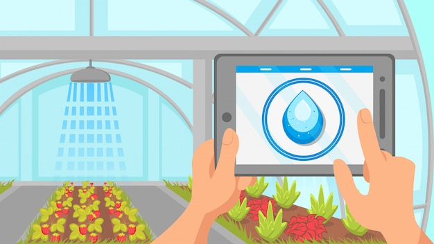Plants watering remote control system illustration