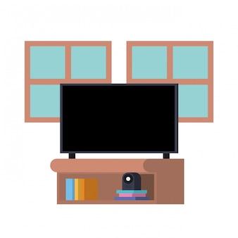Plasma tv in wooden shelf