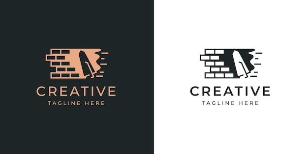 Pock 로고 디자인 템플릿으로 벽돌 벽 석고 벽돌 작업 건설 현대 로고 라인 디자인 템플릿