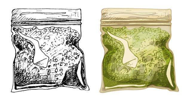 마리화나용 비닐 봉투. 벡터 색상 빈티지 해칭 그림 흰색 배경에 고립. 대마초 상점이 있는 레이블, 포스터, 웹용