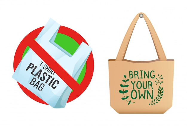 Plastic bag prohibited, crossed out bag icon, no plastic and brown linen eco bag with sign bring your own, care about environment