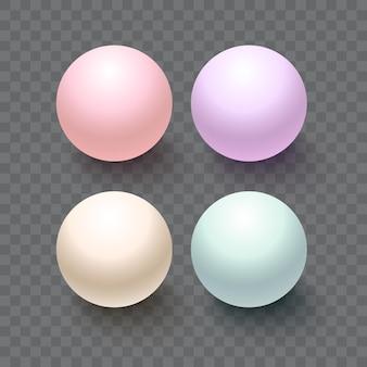 透明な背景に分離されたプラスチックボール。デザインのための現実的なベクトル真珠のセット