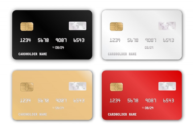 Plastic bank card design template set. realistic detailed credit cards set