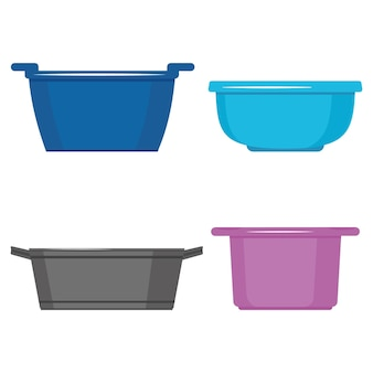 Plastic basins for cleaning.