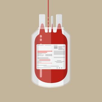 プラスチック製の血液バッグ。コンセプトを寄付