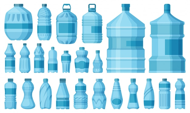 Plastic bottle   cartoon set icon.   illustration water container  .