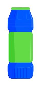白い背景の上の洗剤粉末用のプラスチックボトル