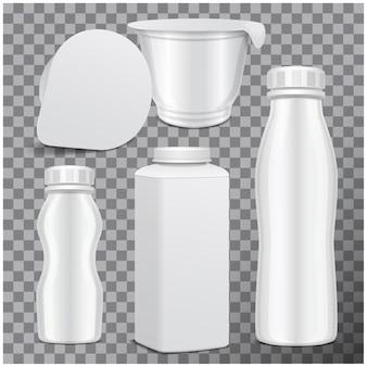 Набор пластиковых бутылок и круглый белый глянцевый пластиковый горшок для молочных продуктов. для молока пей йогурт, сливки, десерт. реалистичный шаблон