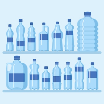 Plastic bottle set illustration. different sizes of cartoon containers for water and other liquids. shelf with blue empty bottles banner,poster, brochure. clean water.