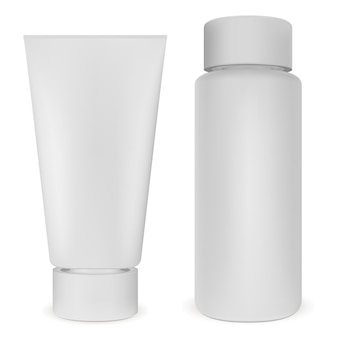 Plastic bottle and tube set. white cosmetic vector